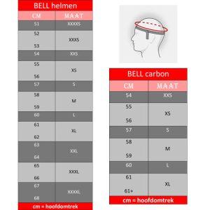 BELL-helmen-maattabel